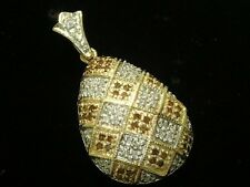 P031 Genuine 9ct SOLID Gold NATURAL White & Brown Diamond Pave Drop Pendant