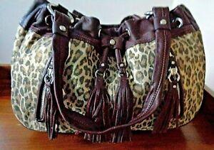 B. MAKOWSKY large animal print leather satchel style shoulder bag