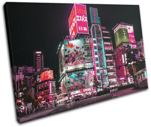 Tokyo Japan Gaming Night Neon City SINGLE CANVAS WALL ART Picture Print