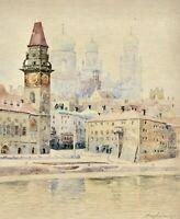 Stadtansicht von Passau, Donauufer, Altes Rathaus, Stephansdom, sign. Aquarell