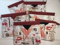 Quilted Handmade Snap Bags Sewing Themed Fabric Red Black Cream