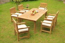 "7pc Grade-A Teak Dining Set 83"" Rectangle Table 6 Devon Arm Chair Outdoor Patio"