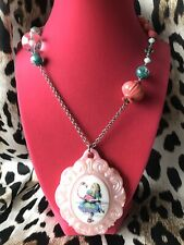 Tarina Tarantino Vintage Acid Alice In Wonderland Pink Flamingo Cameo Necklace