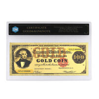 100 Dollars In 24k Gold Banknote with Protect Case for Collection Art Ornament