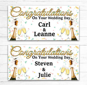 2 PERSONALISED WEDDING DAY BANNERS CELEBRATION PARTY ANY NAMES