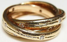 Authentic Cartier 18k Yellow Gold 0.37ct VS Diamond Trinity Ring Size 53, US 6.5