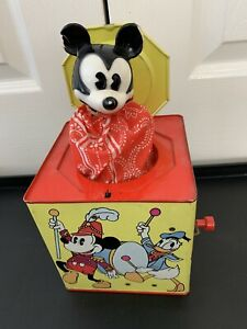 1950's Vintage Mickey Mouse Jack In The Box Carnival Walt Disney Productions
