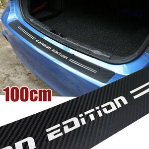 100cm 4D Carbon Fiber Rear Trunk Bumper Guard Accessories Sticker Moulding Trim