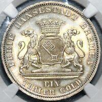 1871-B NGC MS-65  Bremen Thaler Victory France Silver German Coin 61K (20122802D