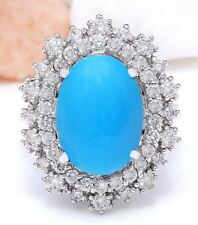 7.10 Carat Natural Turquoise 14K Solid White Gold Diamond Ring