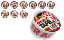 10 x Large Rolls FRAGILE Parcel Packaging Security Tape 50 Mtr Long x 48mm Wide