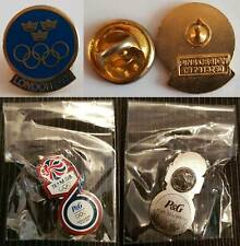 London 2012 Olympics Pin Badges x 2 - Official Swedish NOC LE & P&G Team GB Rare