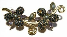 Monet Flower Sprig Floral Brooch Pin Purple Stones Faux Pearls 1990s Pretty!