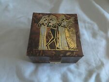 "Egyptian Camel Leather Jewelry Box Three Muscians 5""X 5"" # 312 With Key"