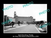 OLD LARGE HISTORIC PHOTO OF St PETERSBURG FLORIDA, VIEW OF VINOY PARK HOTEL 1930