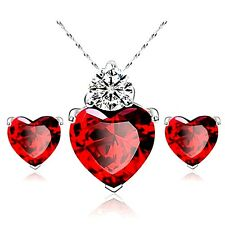 White Gold Plated Red Cubic Zirconia Heart Necklace And Earrings Set