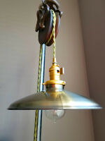 """Antique Brass Porcelain Enamel Shade: 10"""" Rounded Metal, 2-1/4"""" fitter Lampshade"""