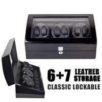 New 3 Motors Automatic Rotation 6+7 Watch Winder Storage Case Display Box US