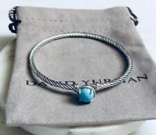 David Yurman Chatelaine Silver Cable Bracelet with Turquoise  Sz Medium / 3mm
