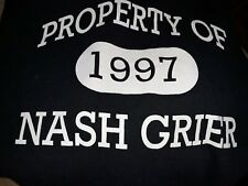 PROPERTY OF NASH GRIER SOCIAL MEDIA SWEAT SHIRT HOODIE BLUE SIZE LARGE