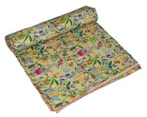 Indian Handmade Cotton Kantha Quilt Bedspread Reversible Blanket Floral Gudri
