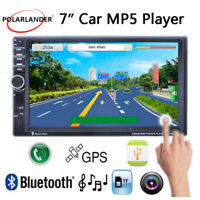 "7"" 2DIN Bluetooth Stereo AUX USB TF Remote Touch Screen Car Radio GPS MP5 Player"