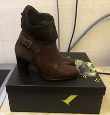 Ladies Jones Brown Leather & Suede Heeled Ankle Boots~ Size 4 UK (37 Eur)
