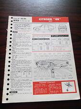 FICHE TECHNIQUE AUTOMOBILE RTA CITROEN GS 1971 (classeur5)