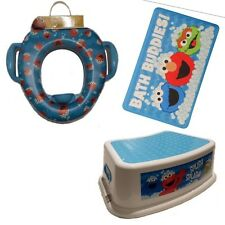 COMBO Sesame Street Soft POTTY Toilet Training Seat + BATH MAT + Step STOOL