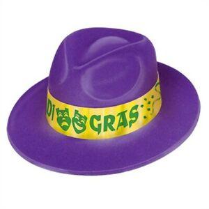 Mardi Gras Velour Fedora Hat Adult Size Plastic Hats Party Supplies Wearable