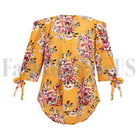 Women Ladies Chiffon Floral Tops 3/4 Sleeve Off Shoulder T-Shirt Blouse Shirt
