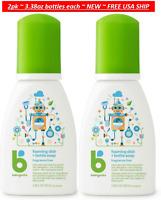 2pk Babyganics ON-THE-GO Foaming Dish Bottle Soap Fragrance Free, 3.38oz each