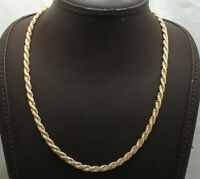 """18"""" Technibond Flat Rope Oval Chain Necklace 14K Yellow Gold Clad Real Silver"""