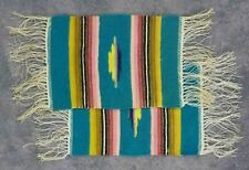 """Vtg 2 Ct Collectible Handwoven Wool Miniature Rug Doily / Geometric Design 9""""x6"""""""