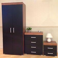 Bedroom Furniture Set *Black & Walnut* Wardrobe 4 Drawer Chest Bedside Cabinet