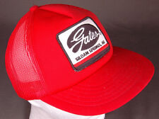 Vtg GATES Hat-Siloam Springs, AR-Snapback-Rubber-Red-Patch-Embroidered-Meshback