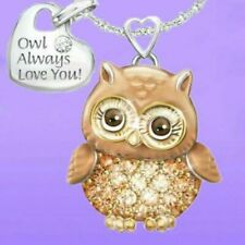 Charm Owl Love You Crystal Sweater Chain Long Pendant Necklace Jewelry Gift
