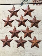"2.25"" Primitive Rusty Tin/Metal Barn Stars 10 Pack Dimensional 2 1/4"" New"