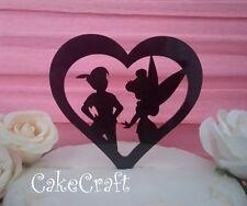 Peter Pan & Tinkerbell loveheart Acrylic Wedding,Birthday cake topper decoration