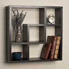 Black Square Wall Shelf Indoor Home Living Room Decor Hallway Bedroom Furniture
