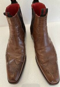Jeffry West Mens Brown Leather Chelsea Style Ankle Boots Size 10
