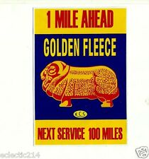 GOLDEN FLEECE 1 MILE AHEAD Vinyl Sticker Decal Garage Service OIL Station Petrol