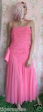 Rare! Vtg JOHN CHARLES Pink Chiffon Bridesmaid Wedding Evening Ball Gown Dress