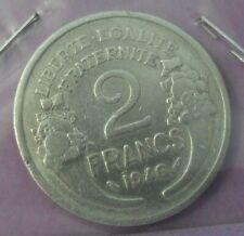 2 francs morlon aluminium 1946 : TB : pièce de monnaie française N32