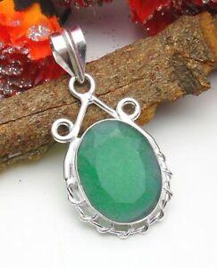 Emerald Pendant Gemstone Jewellery 925 Silver OVERLAY Hand Made 44mm