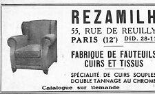 PARIS REUILLY PUBLICITE REZAMILH FABRIQUE DE FAUTEUILS CUIR 1950