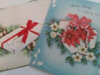 2 Vtg 1940s CHRISTMAS GIFT BOX GREETING CARDS Ribbon & Peek Window