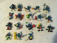 Vintage Schleich Peyo Smurf Figurines Lot of 18 from 1978-1982 Made in Hong Kong