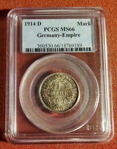 PCGS MS66 1914-D Germany Empire 1 Mark BEAUTY. Lot t1065