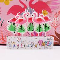5pcs/set Flamingo Candles Cake Topper Unicorn Cake Candle Birthday Party Decor